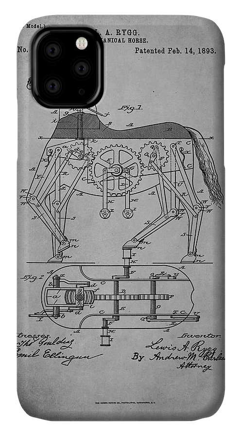 Patent IPhone Case featuring the mixed media Mechanical Horse Patent Art 1f by Brian Reaves