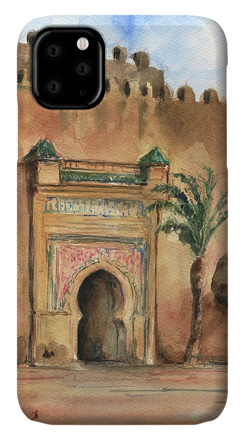 Morocco Art IPhone Case featuring the painting Medina Morocco, by Juan Bosco