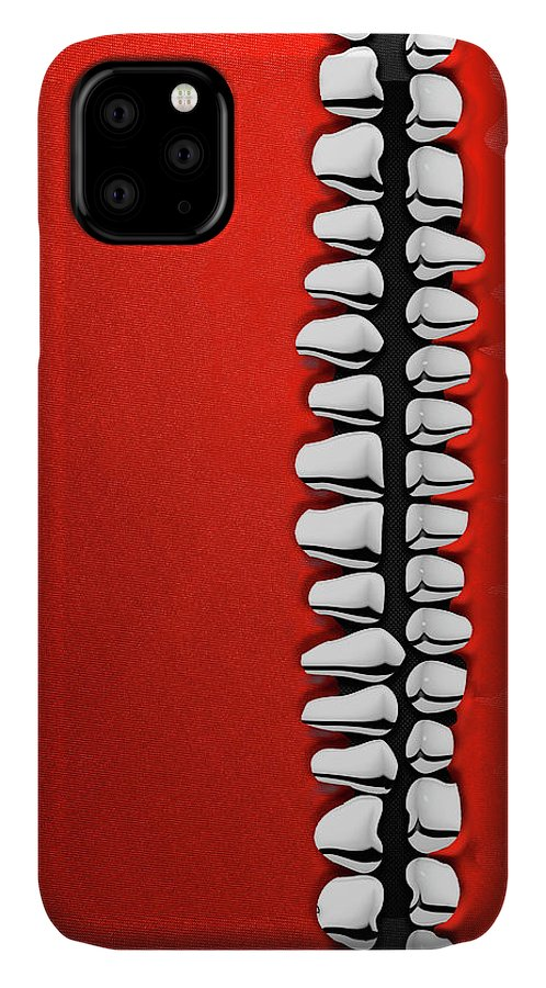 'memento Mori' Collection By Serge Averbukh IPhone Case featuring the digital art Memento Mori - Silver Human Teeth Over Red And Black Canvas by Serge Averbukh