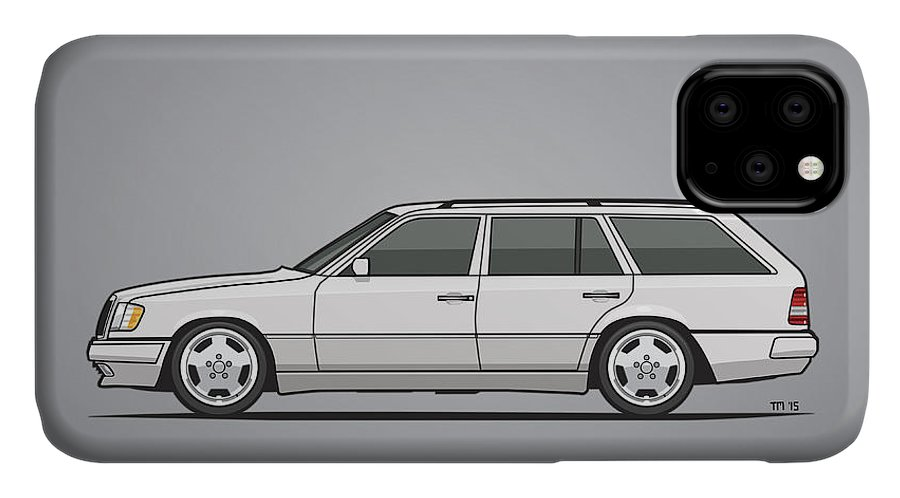 Mercedes IPhone 11 Case featuring the mixed media Mercedes Benz W124 T124 300te E-class White Estate Wagon by Monkey Crisis On Mars