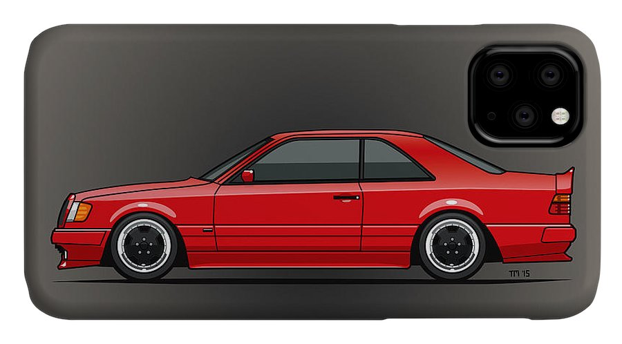 Mercedes IPhone 11 Case featuring the mixed media Mercedes W124 300e Red Amg Hammer Widebody Coupe by Monkey Crisis On Mars