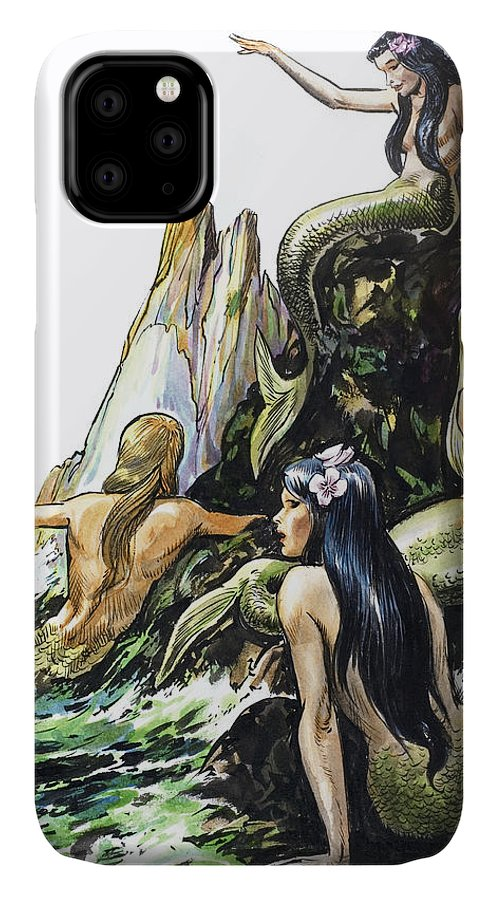 Mermaid IPhone Case featuring the painting Mermaids by Nadir Quinto