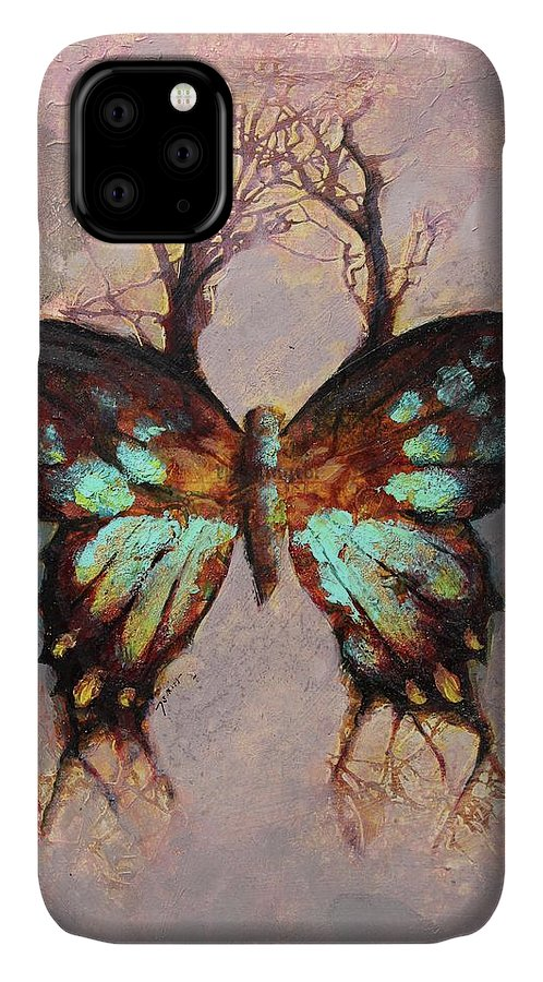 Butterfly IPhone 11 Case featuring the painting Metanomaly by Joshua Smith