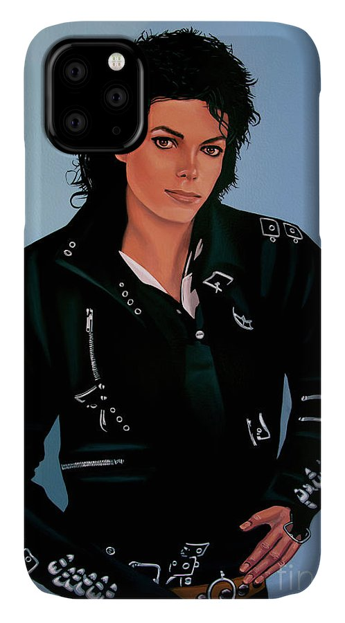 Michael Jackson IPhone Case featuring the painting Michael Jackson Bad by Paul Meijering