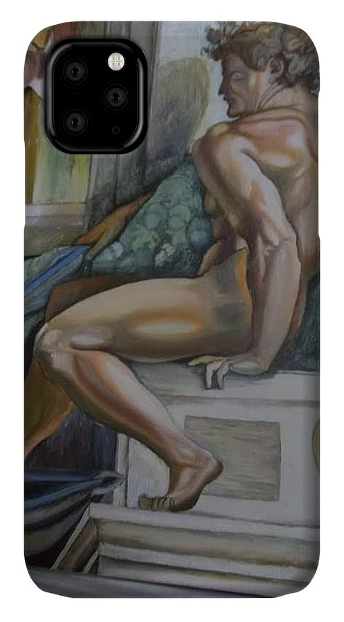 Michelangelo IPhone 11 Case featuring the painting Michelangelo Study 2 by Amber Whiteman