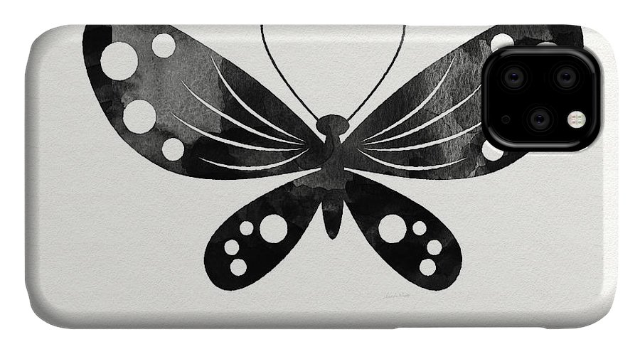 Butterfly IPhone 11 Case featuring the painting Midnight Butterfly 3- Art By Linda Woods by Linda Woods