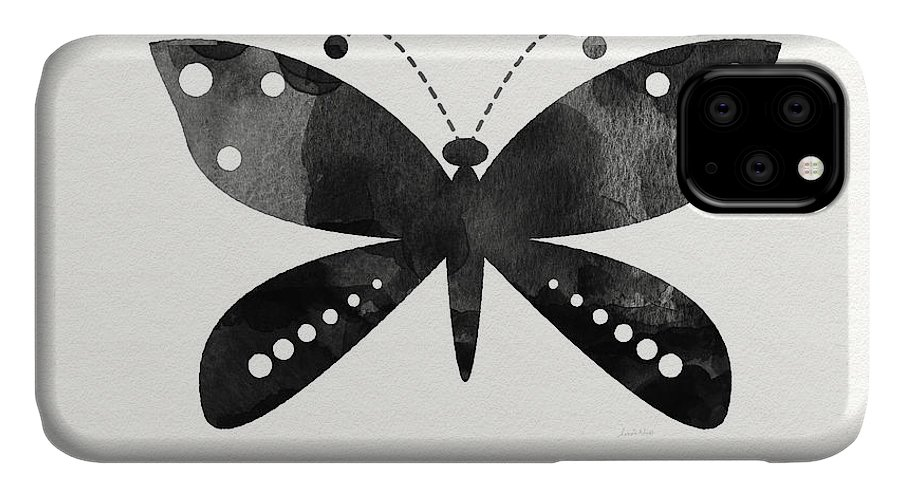 Butterfly IPhone 11 Case featuring the painting Midnight Butterfly 4- Art By Linda Woods by Linda Woods