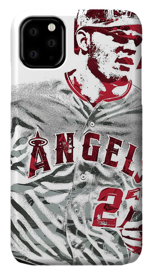 Mike Trout IPhone Case featuring the mixed media Mike Trout Los Angeles Angels Pixel Art 6 by Joe Hamilton