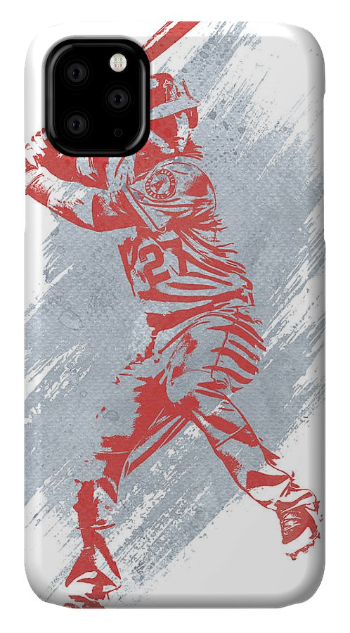 Mike Trout IPhone Case featuring the mixed media Mike Trout Los Angeles Angels Water Color Art 1 by Joe Hamilton