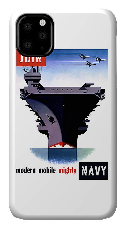 Ww2 IPhone 11 Case featuring the painting Modern Mobile Mighty Navy by War Is Hell Store