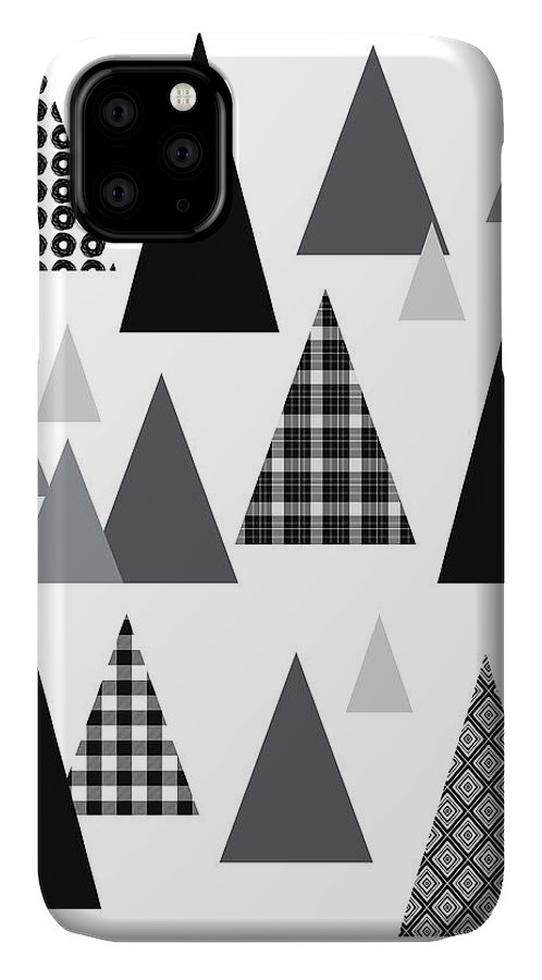 Black And White IPhone Case featuring the mixed media Modern Triangle Trees- Art By Linda Woods by Linda Woods