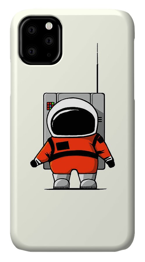 Ink-pen IPhone 11 Case featuring the digital art Moon Man by Nicholas Ely