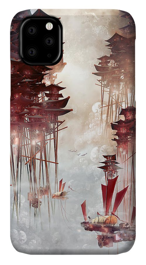 Landscape IPhone 11 Case featuring the digital art Moon Palace by Te Hu