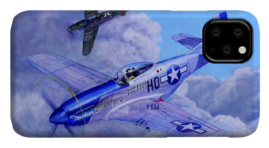 Capt Bill Wisner Shoots Down Two Bf-109s On November 2nd 1944 IPhone Case featuring the painting Moonbeam McSwine by Scott Robertson
