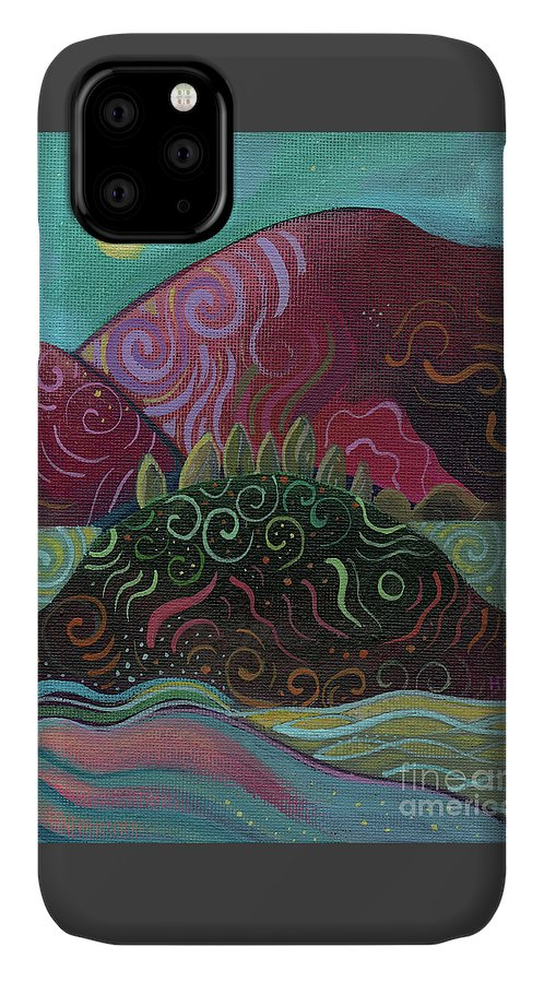 Abstract Landscape IPhone 11 Case featuring the painting Moonlit by Helena Tiainen