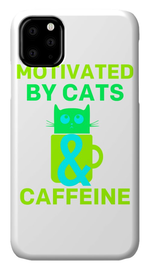 Cat IPhone Case featuring the digital art Motivated By Cats Caffeine Colorful by Kaylin Watchorn