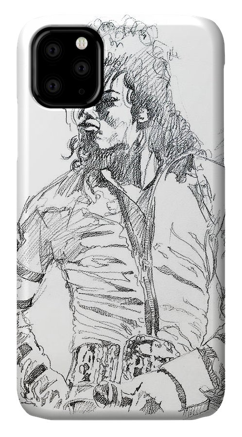 Michael Jackson IPhone Case featuring the drawing Mr. Jackson by David Lloyd Glover