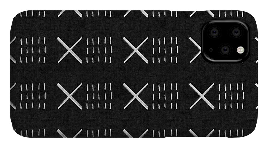 Black IPhone Case featuring the mixed media Mud Cloth 6- Art By Linda Woods by Linda Woods