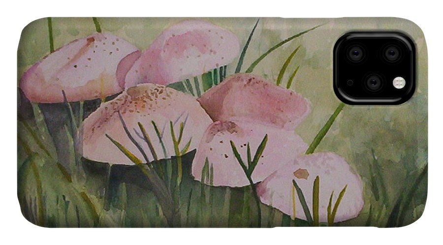 Landscape IPhone Case featuring the painting Mushrooms by Suzanne Udell Levinger