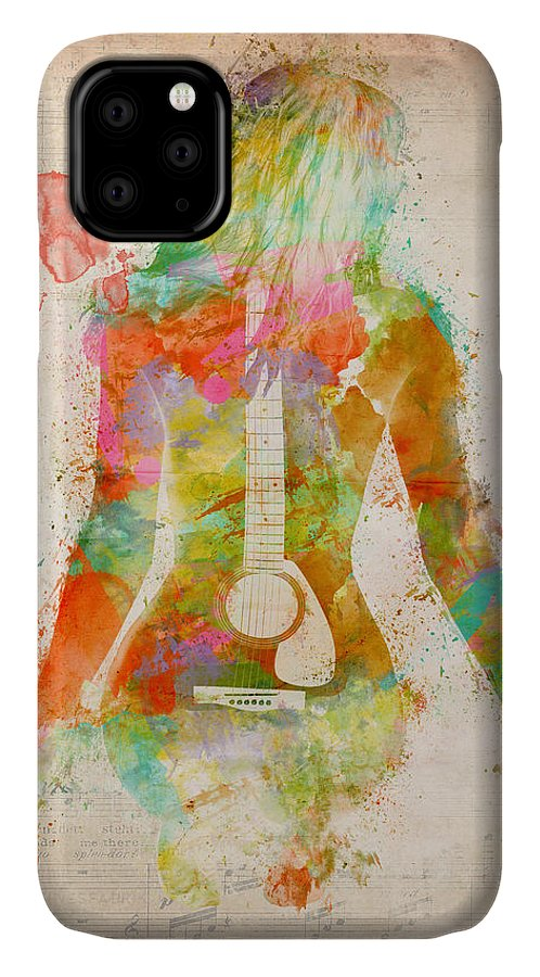 Guitar IPhone Case featuring the digital art Music Was My First Love by Nikki Marie Smith