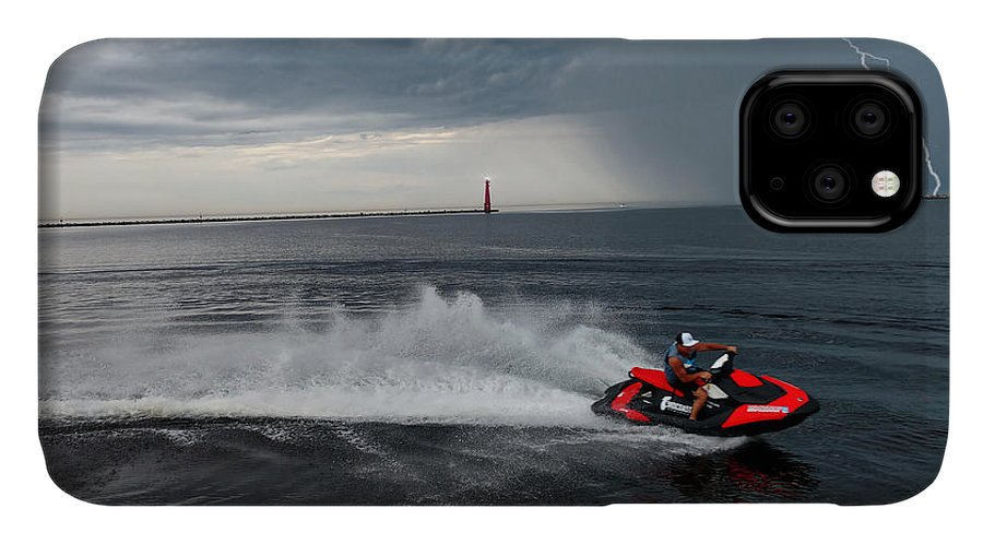 Jet Ski IPhone Case featuring the photograph Muskegon South Pier Lighthouse by Michael Rucker