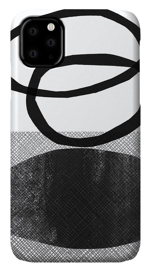 Grey IPhone Case featuring the mixed media Natural Balance- Abstract Art by Linda Woods