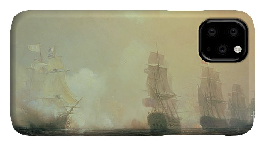 Boat IPhone Case featuring the painting Naval Battle In Chesapeake Bay by Jean Antoine Theodore Gudin