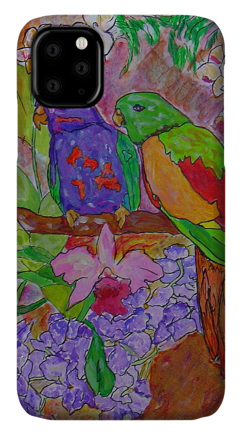 Tropical Pair Birds Parrots Original Illustration Leilaatkinson IPhone Case featuring the painting Nesting by Leila Atkinson