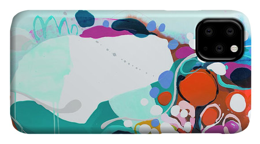 Abstract IPhone 11 Case featuring the painting New Ways by Claire Desjardins