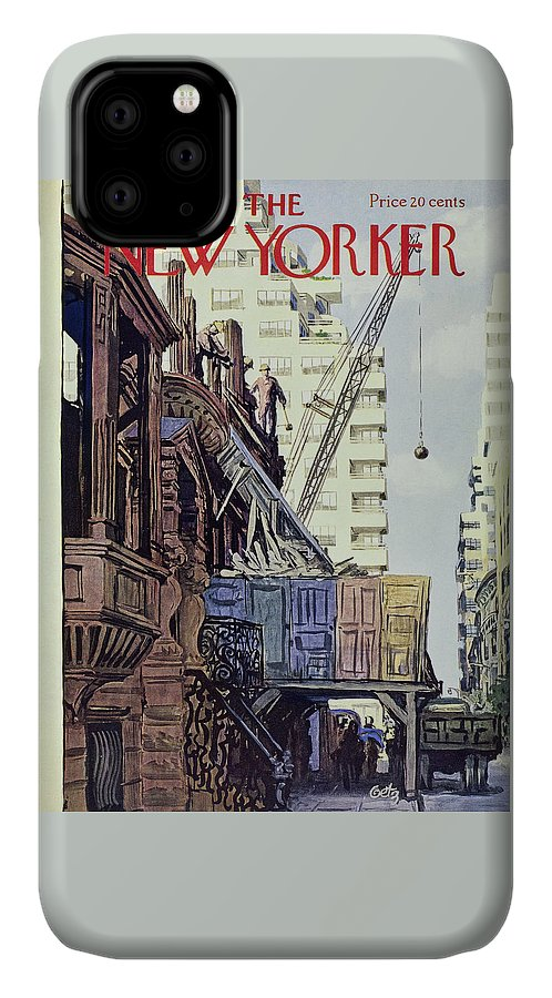 Construction IPhone Case featuring the painting New Yorker April 27 1957 by Arthur Getz