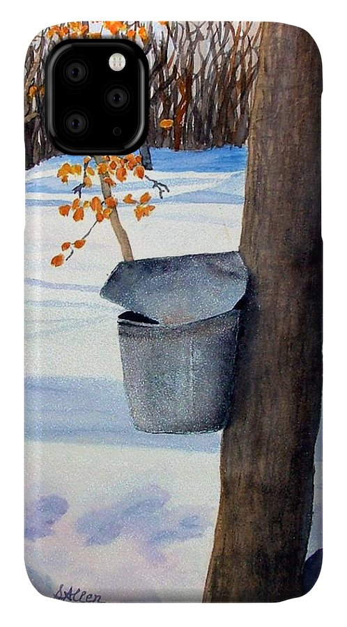 Sap Bucket. Maple Sugaring IPhone Case featuring the painting Nh Goldmine by Sharon E Allen