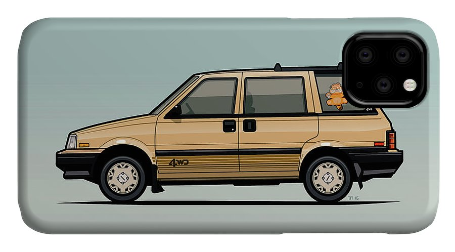 Car IPhone 11 Case featuring the digital art Nissan Stanza / Prairie 4wd Wagon Gold by Monkey Crisis On Mars