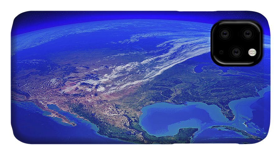 Earth IPhone Case featuring the photograph North America Seen From Space by Johan Swanepoel
