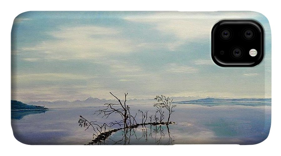 Late Novemeber In Bavaria IPhone Case featuring the painting November On A Bavarian Lake by Helmut Rottler
