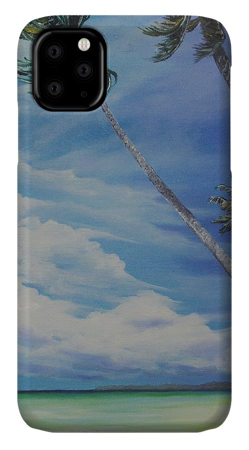 Trinidad And Tobago Seascape IPhone Case featuring the painting Nylon Pool Tobago. by Karin Dawn Kelshall- Best