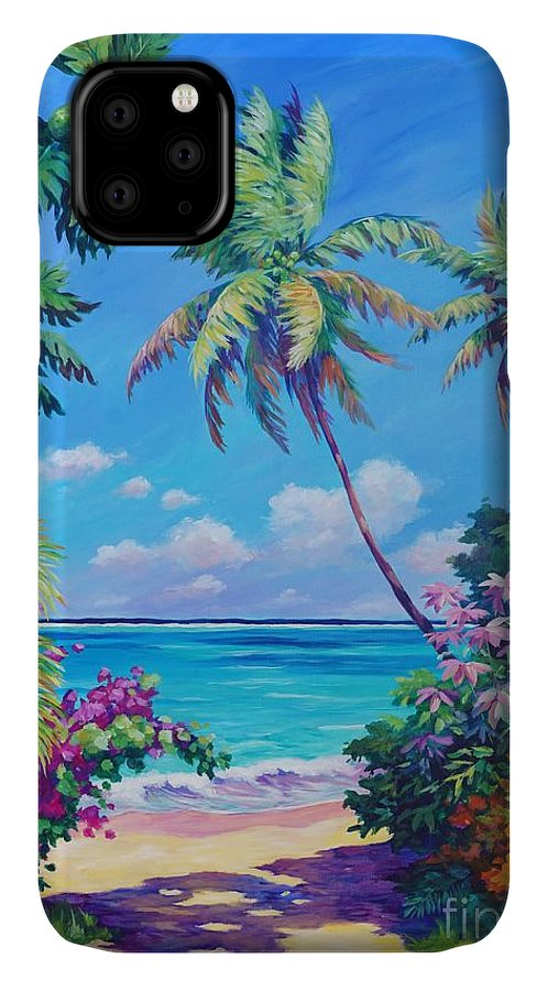 Art IPhone Case featuring the painting Ocean View with Breadfruit Tree by John Clark