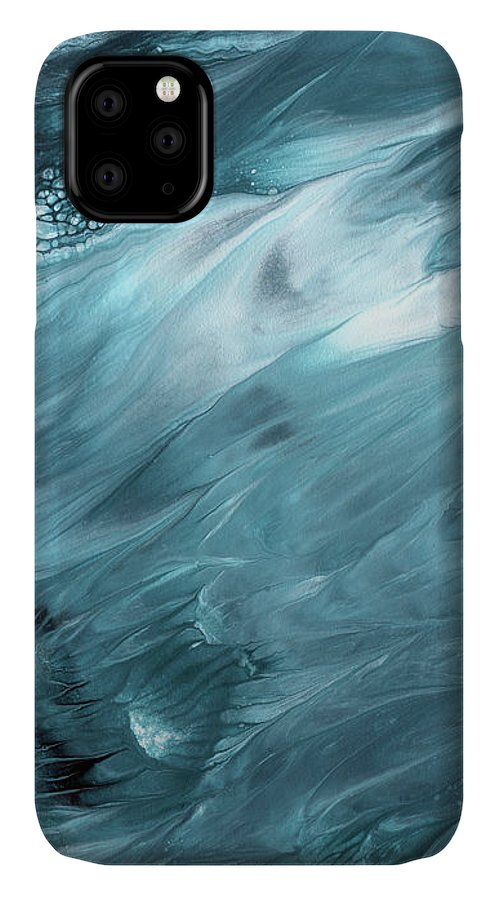 Abstract IPhone 11 Case featuring the mixed media Oceanside 2- Art By Linda Woods by Linda Woods
