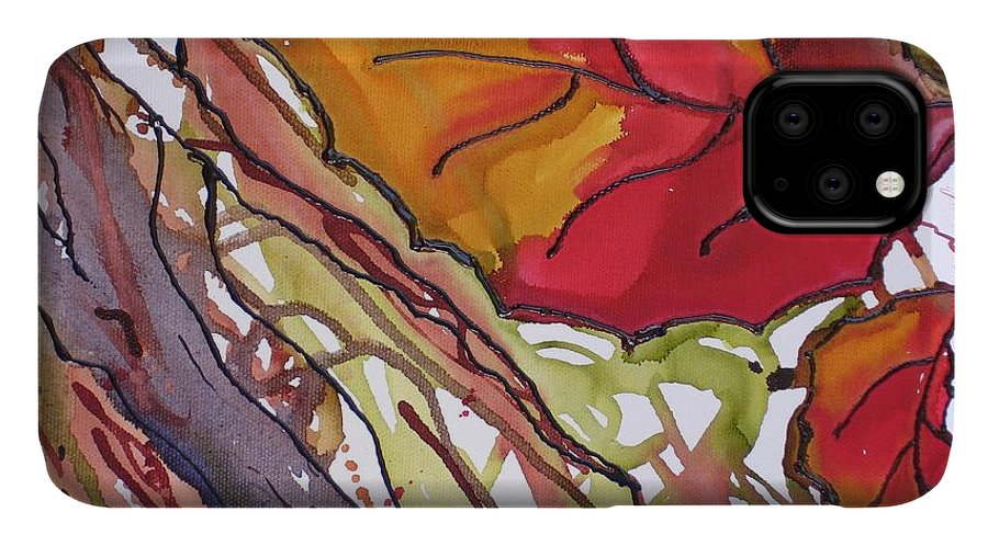 Leaf IPhone Case featuring the mixed media OctoberSecond by Susan Kubes