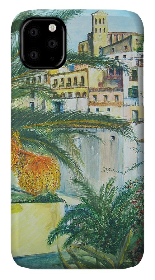 Ibiza Old Town IPhone Case featuring the painting Old Town Ibiza by Lizzy Forrester