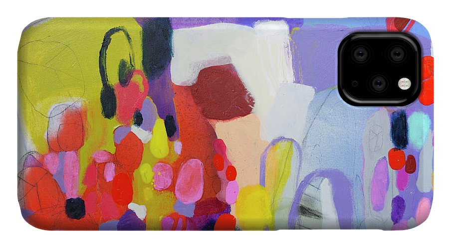 Abstract IPhone 11 Case featuring the painting On My Mind by Claire Desjardins