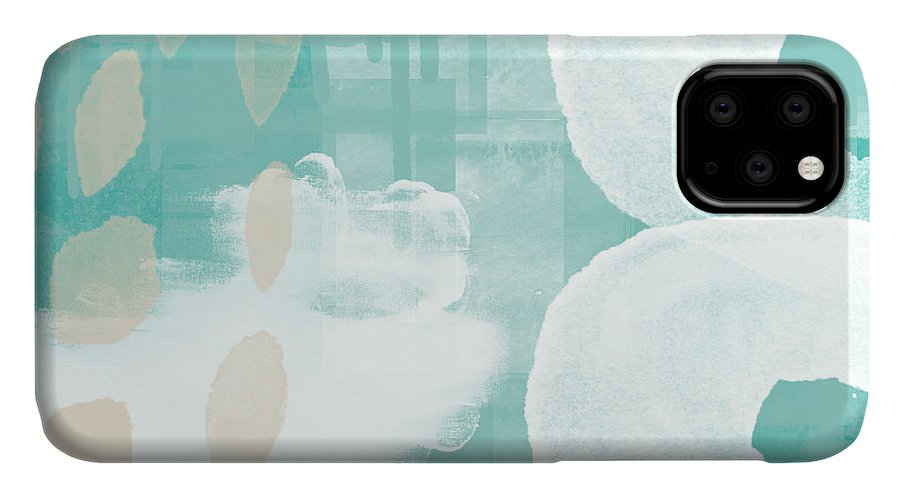 Beach IPhone 11 Case featuring the mixed media On The Shore- Abstract Painting by Linda Woods