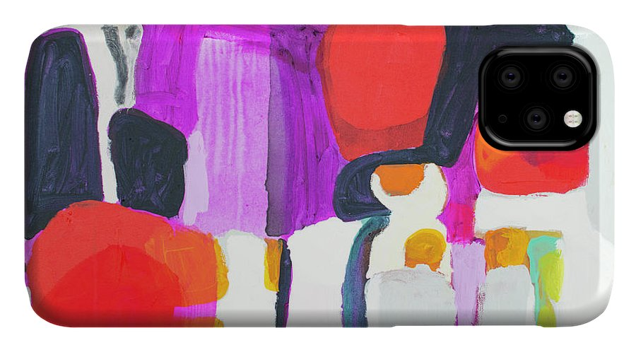 Abstract IPhone 11 Case featuring the painting On Time by Claire Desjardins