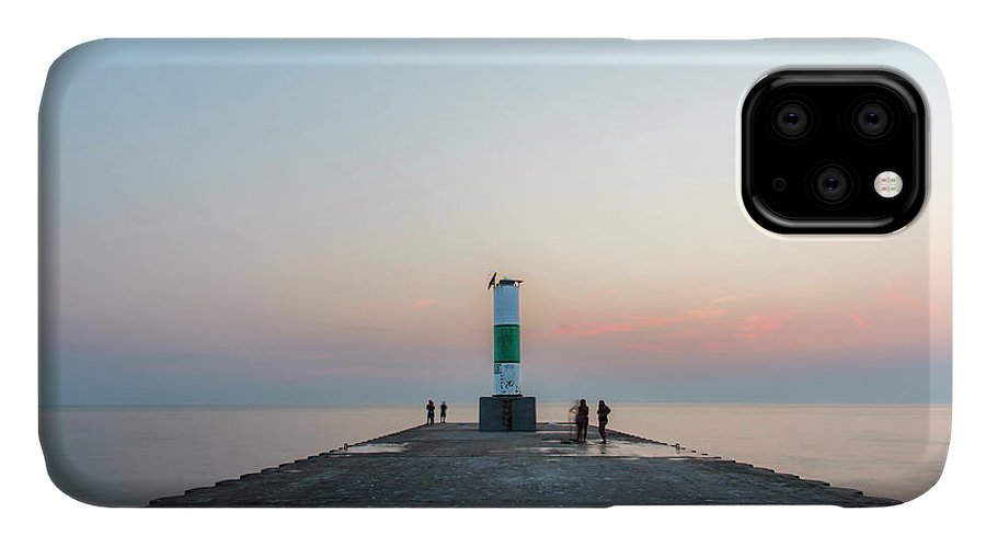 Onekama IPhone 11 Case featuring the photograph Onekama Pier To Lake Michigan by Twenty Two North Photography