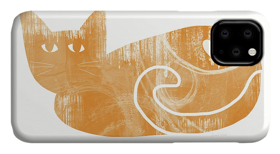 Cat IPhone Case featuring the painting Orange Cat- Art by Linda Woods by Linda Woods
