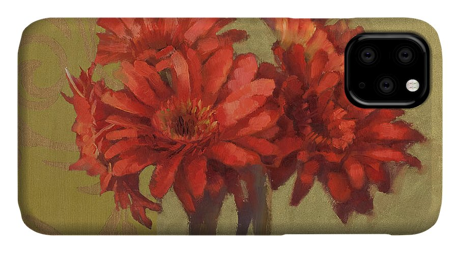 Floral IPhone Case featuring the painting Orange Gerbers by Cathy Locke