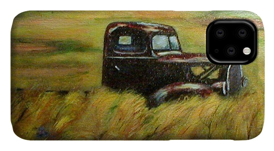 Vintage Truck IPhone Case featuring the painting Out To Pasture by Gail Kirtz