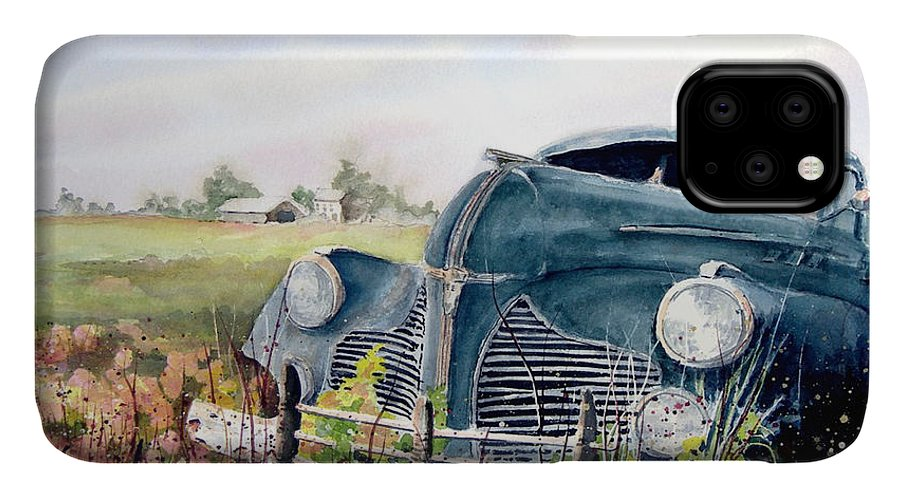 Classic Car IPhone Case featuring the painting Out To Pasture by Sam Sidders