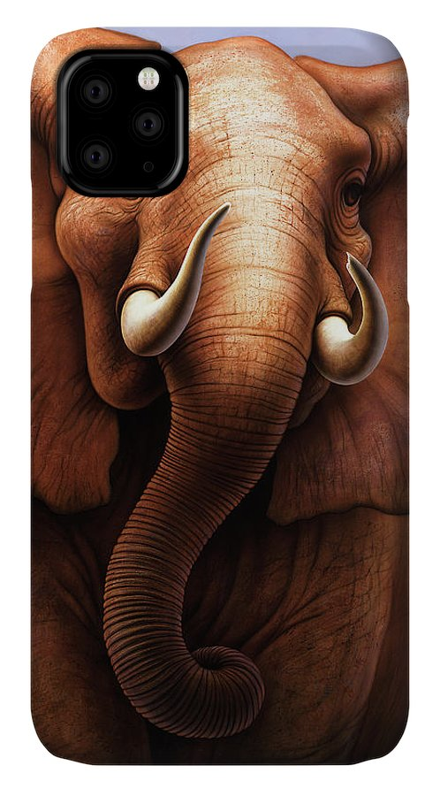 African Elephant IPhone 11 Case featuring the painting Pachyderm by Jerry LoFaro