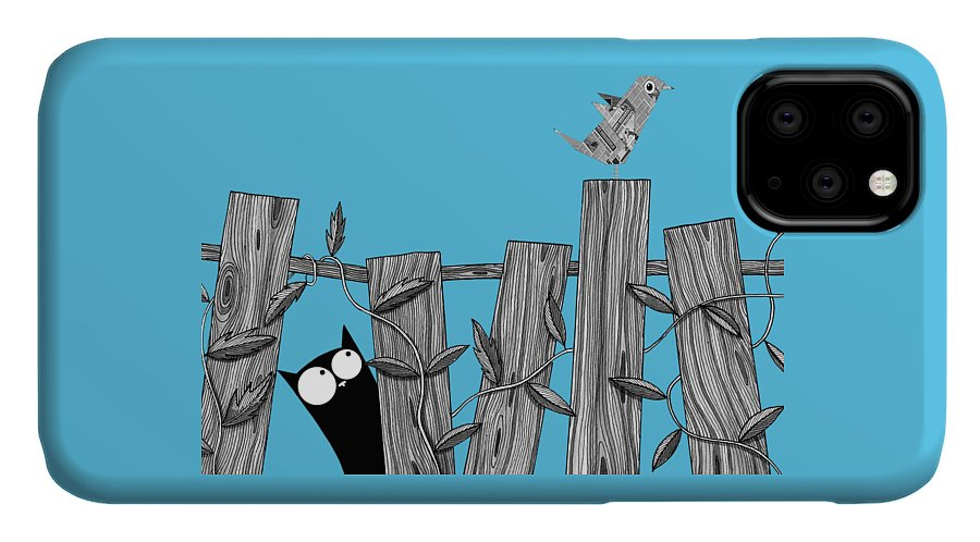 Bird IPhone 11 Case featuring the painting Paper Bird by Andrew Hitchen