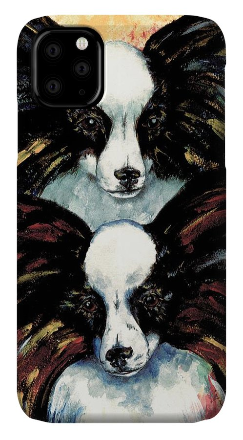 Papillon IPhone Case featuring the painting Papillon De Mardi Gras by Kathleen Sepulveda